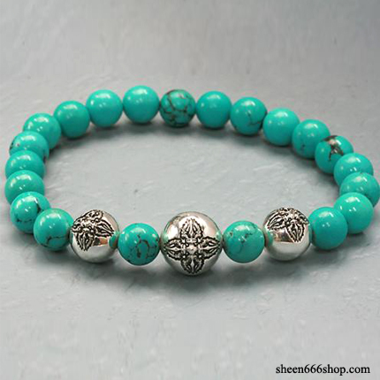 Stone Bracelt with Dorje ball White Turquoise