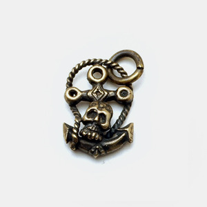 Brass Anchor with Skull Pendant
