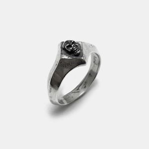 Diamonds Silver Ring with Skulls