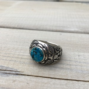 Eagle Crest Silver Ring w/Turquoise 17.5호