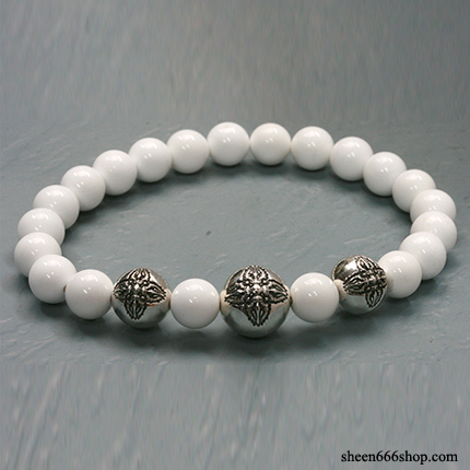 Stone Bracelt with Dorje ball White Agate